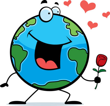 planeta tierra feliz: Un planeta Tierra de dibujos animados feliz con una flor.