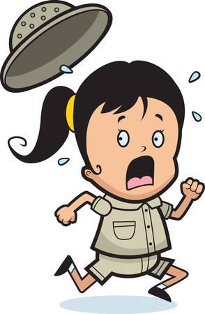 paniek: Een cartoon kind explorer uitgevoerd in paniek. Stock Illustratie