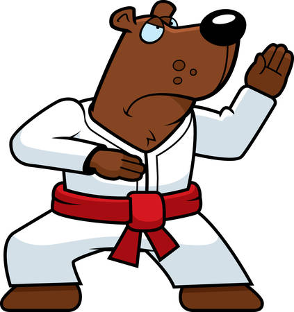 A cartoon bear doing karate in a gi.