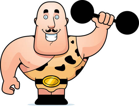 man: A happy cartoon strongman lifting a dumbbell. Illustration