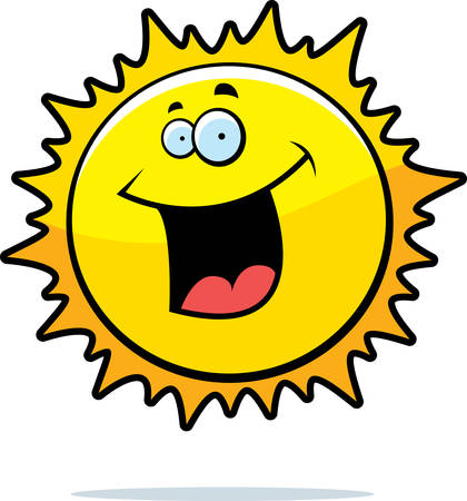 A cartoon yellow sun smiling and happy.