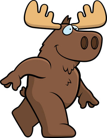 A happy cartoon moose walking and smiling.