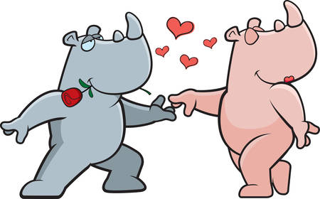 Two cartoon rhinos happy and in love.