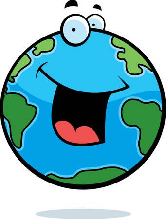 happy planet earth: Un planeta Tierra de dibujos animados sonriente y feliz.