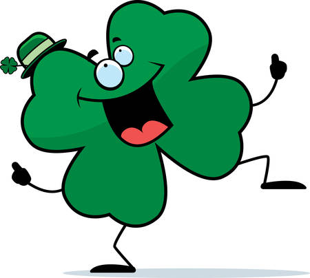 A happy cartoon four leaf clover dancing and smiling.