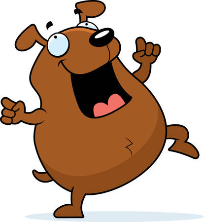 A happy cartoon dog dancing and smiling.