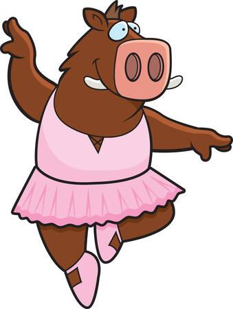A happy cartoon boar ballerina in a tutu.