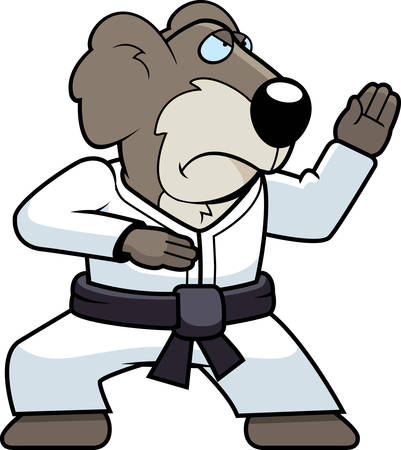 A cartoon koala doing karate in a gi.