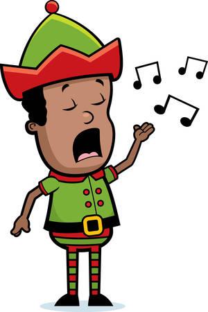 A cartoon Christmas elf singing a song.