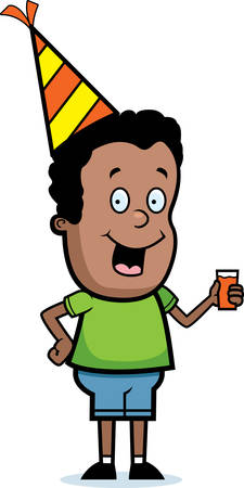 adolescent: A happy cartoon child with a party hat on.
