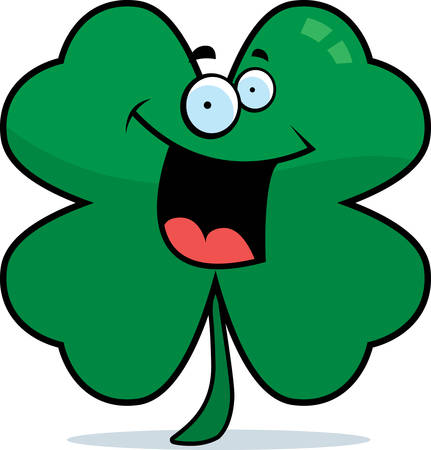 A cartoon four leaf clover smiling and happy.