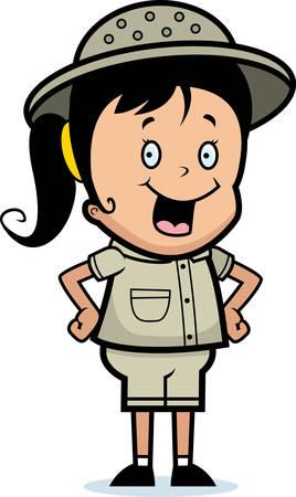Een gelukkig cartoon kind explorer staan en glimlachen.