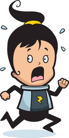 flee: A cartoon child astronaut running in a panic. Illustration