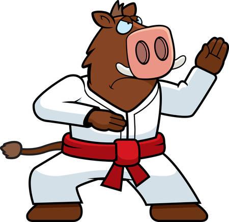 gi: A cartoon boar doing karate in a gi.