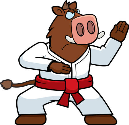 A cartoon boar doing karate in a gi.