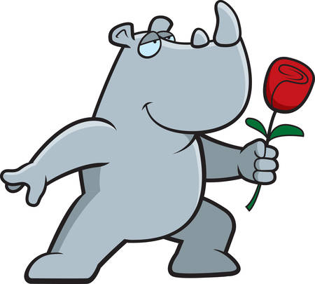 A happy cartoon rhino with a flower. Illustration