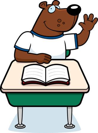 Een happy cartoon beer student aan een bureau.