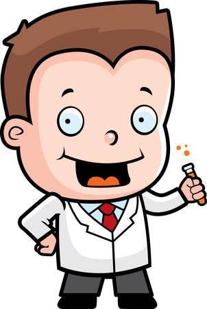 A happy cartoon boy scientist with a test tube. Illustration