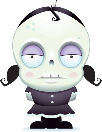 A cartoon zombie girl standing and staring.