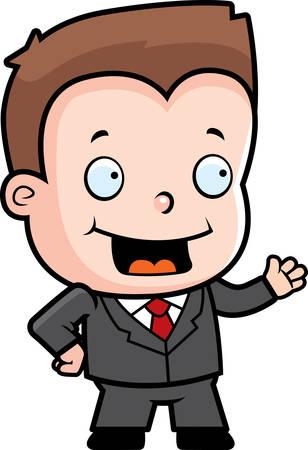 A happy cartoon businessman boy in a suit.
