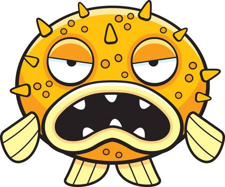 A cartoon blowfish with an angry expression. Ilustração