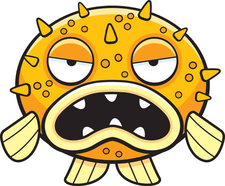 hostile: A cartoon blowfish with an angry expression. Illustration