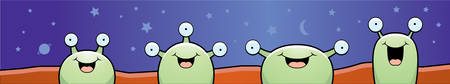 martian: A group of cartoon Martian aliens standing and smiling.