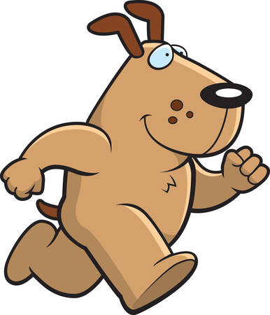 A happy cartoon dog running and smiling.