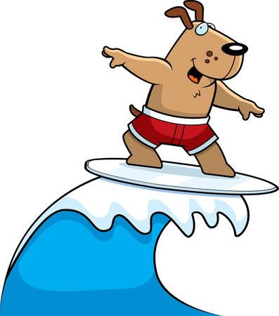 A happy cartoon dog surfing and smiling. Иллюстрация