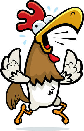 squawk: A cartoon rooster running and crowing.