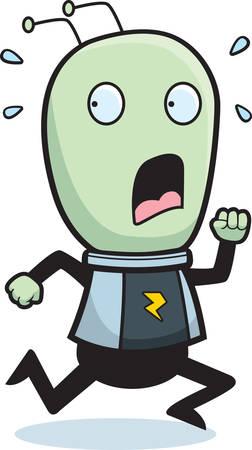flee: A cartoon child alien running in fear. Illustration