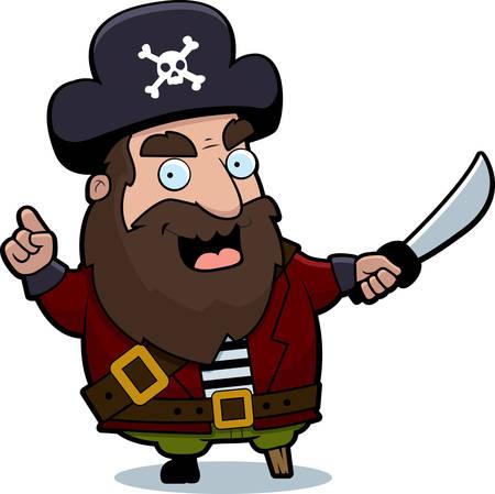 A cartoon pirate captain with a sword. Ilustração