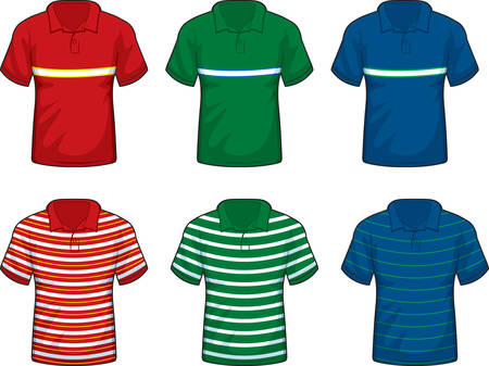 A variety of different colored collar shirts. Illustration