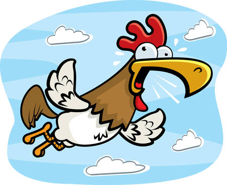 A cartoon rooster flying and crowing.