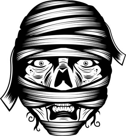 A black and white illustration of a mummy face.