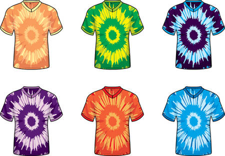 A variety of different colored tie dye shirts.
