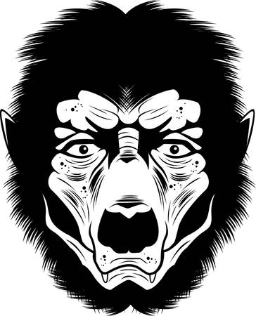 A black and white illustration of a werewolf face. Ilustrace