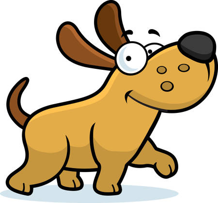 A happy cartoon dog walking and smiling.