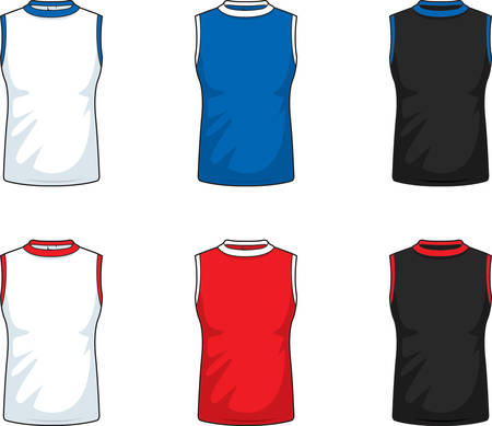 A variety of different colored sleeveless shirts. 向量圖像