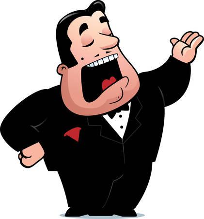 Een cartoon operazangeres man zingen.