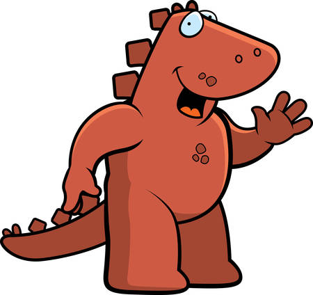 greet: A happy cartoon dinosaur waving and smiling.