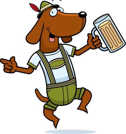 ダンスと笑顔の幸せ漫画ドイツ犬。