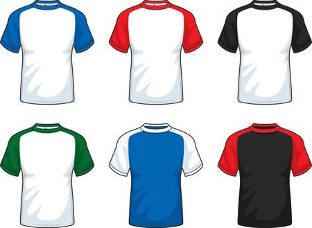 raglan: A variety of short sleeve shirts in various colors. Illustration