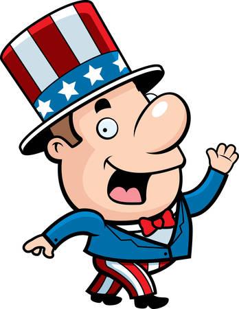 A happy cartoon patriotic man waving and smiling.