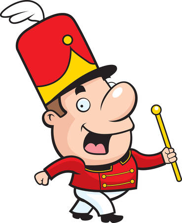 marching band: A happy cartoon marching band conductor waving and smiling. Illustration