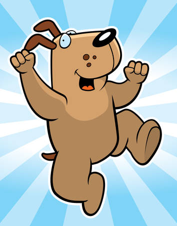 A happy cartoon dog jumping and smiling.