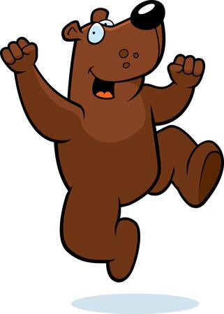 hurray: A happy cartoon bear jumping and smiling. Illustration