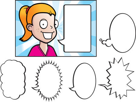 A cartoon girl talking with a variety of word bubbles. Reklamní fotografie - 41844504