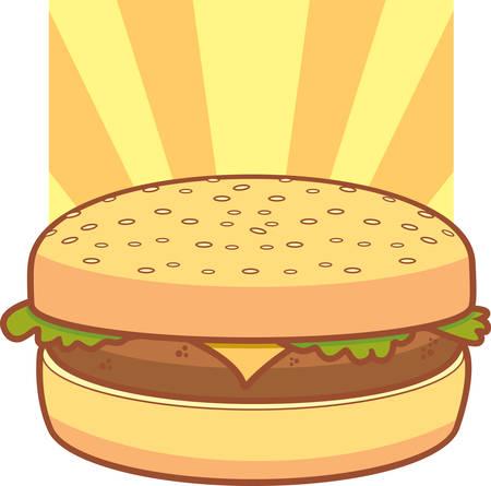 A cartoon cheeseburger with lettuce on a bun.
