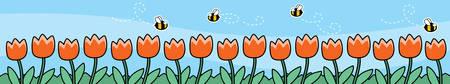 buzzing: A bunch of cartoon bees in a flower garden.